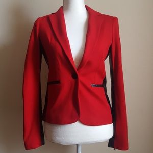 Cache Red & Black Blazer Jacket Size 0